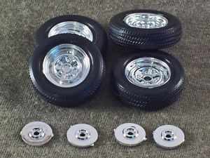 1 25 Scale Model Car Parts Junk Yard Chrome Reverse Style Wheels Tires