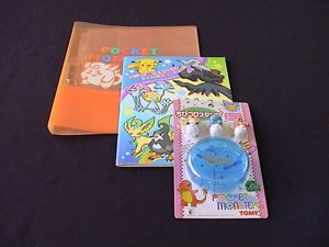 Lot 1 Pokemon Pocket Monsters Coloring Book 3 Figures 1 Trading Card Binder