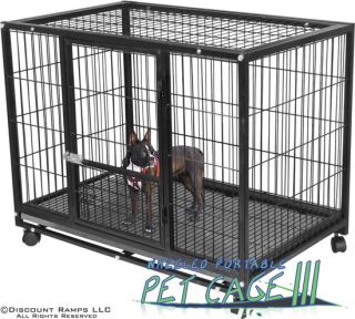 "37"" Dog Kennel w Wheels Portable Pet Carrier Crate Cage Pet Cage 3"