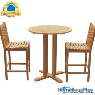 3 PC Bar Pub Table and Stools Barstool Teak Wood Outdoor Furniture