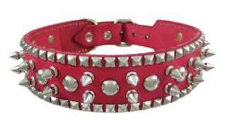 19 inch Hot Pink Leather Spiked Studded Dog Collar SML