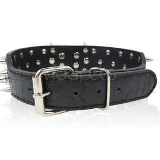 "18 22"" Black Leather Spiked Dog Collar Pitbull Bully Boxer Spikes Large L"