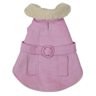 Sherpa Corduroy Dog Coat Jacket Pink or Blue Velcro Closure Easy on Teacup XXS