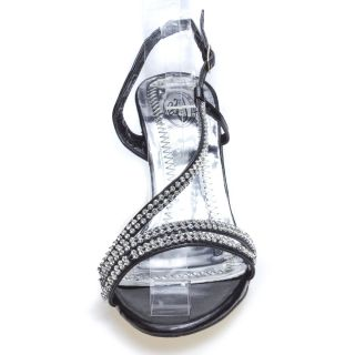 Lady Sexy Black Rhinestone Party Bridal Prom Evening Mid High Heel Sandal US 7