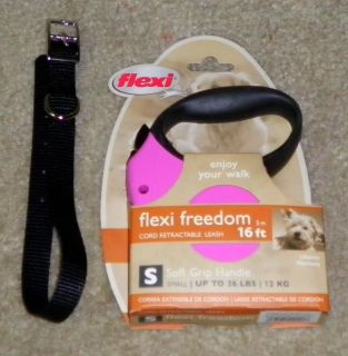 New Flexi Freedom Retractable Dog Cord Leash Small Pink with Free Collar