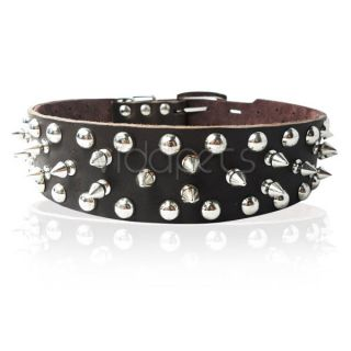 Black Brown Pink White Spiked Spikes Studded Genuine Leather Dog Collar L XL
