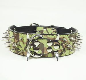 Camouflage D Ring Buckle PU Leather Spiked Studded Dog Collars Pit Bull s M L XL