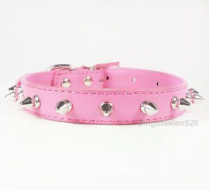 Spiked Studded PU Leather Dog Collar Puppy Small Dog Pet Cat Collars Hot Pink S