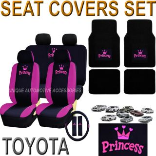 Toyota Camry Sienna 17pcs Pink Princess Seat Covers Steering Bench Floor Mat Set