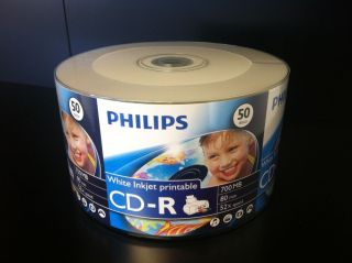100 52x Philips White Inkjet Hub Printable Blank CD R CDR Recordable Disc Media