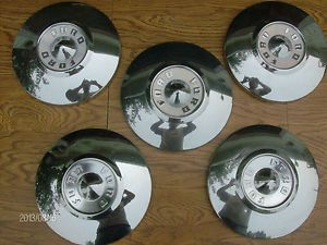 1956 Ford Dog Dish Poverty Hubcaps Set of Five 10 5 inch 1955 1956 Ford Hubcaps