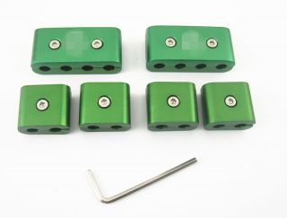 6 Pcs Green Aluminum Engine Spark Plug Wire Separators with Key Wrench Tools Kit