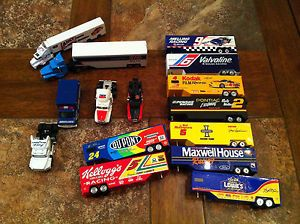 Mixed Lot of NASCAR Die Cast Semi Trucks and Trailers Matchbox Ambulance