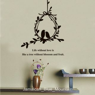 Love Birds Nest Silhouette Quote Removable Wall Sticker Decal