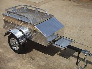 Aluminum Motorcycle Trailers Tow Pull Cargo Behind Harley Goldwing Chrome
