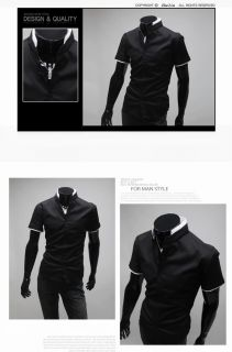 New Mens Casual Formal Luxury Slim Stand Collar Short Sleeve Dress Shirt Black L