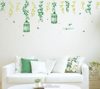 Removable Tree Bird Birdcage Wall Sticker Art Mural Decal Deco Vinyl Decor