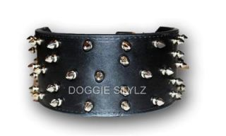 "3"" Black Leather Dog Collar Spike 17"" 21"" Pitbull USA"