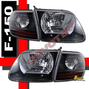 97 03 Ford F 150 F150 SVT Harley Davidson Headlights Corner Lights Black
