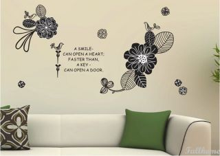 Huge Removable Flower Black Bird Office Bed Room Decal vinvy Wall Decor Sticker