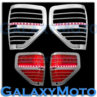 09 13 Ford F150 Truck Chrome Taillight Tail Light Trim Bezel Red LED Cover 2013