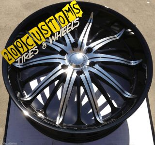 "24"" inch Black Wheels Rims Tires Akuza Belle 761 24x9 6x139 7 Hummer H3 Tahoe"