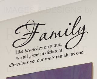 Wall Decal Sticker Quote Vinyl Art Lettering Family Like Branches on A Tree F28