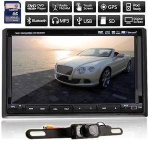 "New 7"" HD LCD Double DIN Car GPS Stereo DVD Player Touch Screen Bluetooth Camera"