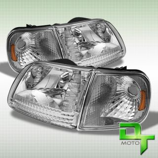 97 03 Ford F150 Expedition Crystal Headlights Corner Signal Lights Lamps Set