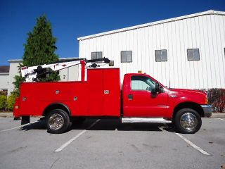 1999 Ford F550 Super Duty Service Utililty Truck 11 ft IMT Bed 1014A Auto Crane