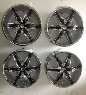 "Set 4 24"" Helo 866 Chrome Wheels 6 Lug Chevy Ford Truck 6x5 5 6x135 Tahoe F150"