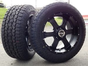 "20"" V Tec Black Wheels Rims Toyo AT2 Tires Package 6x135 6 Lug Ford F 150 Truck"