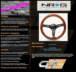 "NRG Steering Wheel Classic Dark Wood Grain 350mm Blackchrome 3"" Deep St 055BR BK"