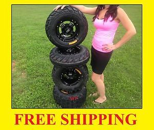 4 New Yamaha Banshee 350 ITP SS112 Black Rims on CST Ambush Tires Wheels Kit