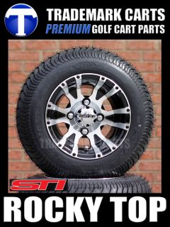 Golf Cart 205 50 10 Low Profile Tires and Aluminum Wheels Fits EZGO Club Car