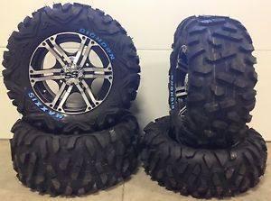 "ITP SS212 14"" Wheels Machined 26"" Maxxis Bighorn Tires Suzuki King Quad IRS 4"