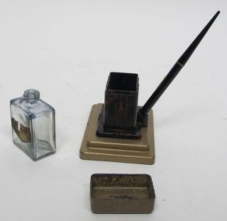 Antique Art Deco Fount O Ink Pen Stand Original Fountain Pen Ink Bottle Yqz