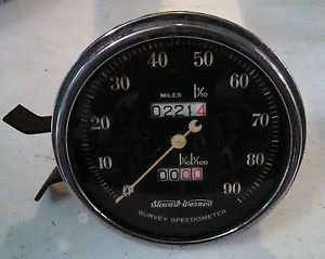 Vintage Stewart Warner Crescent Pointer Survey Speedometer Gauge