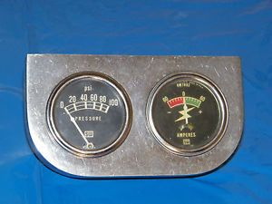 Vintage Stewart Warner Mechanical Oil Pressure Amp Gauge Used