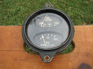 Vintage Stewart Warner Aviation Aircraft Airplane Oil Temperature Pressure Gauge