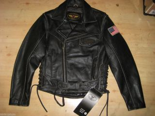 Victory American Motorcycles Men's Distressed Black Leather Bike Jacket UK 38""