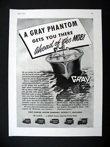 Gray Marine Phantom Series Marine Boat Engines 1947 Print Ad Advertisement