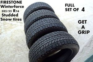 Set of 4 Firestone Winterforce 205 55R16 Studded Winter Snow Tires 205 55 16