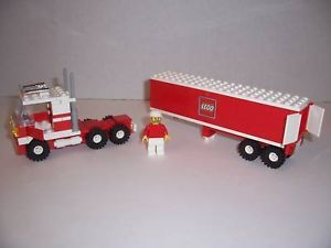 Lego Semi Truck w Trailer Minifig Red White