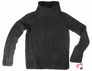 Isaac Mizrahi Black Cable Knit Turtleneck Sweater S