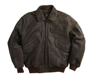 New Alpha Industries CWU 45 P Cowhide Leather Fighter Pilot Jacket Black Brown