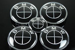 Blk BMW Black Style Wheel Center Hub Caps 68mm and Steering Wheel Sticker