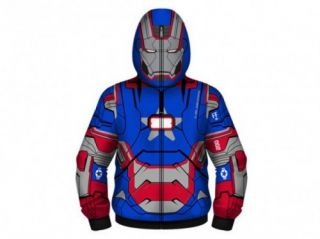 Marvel Comics Iron Man 3 Patriot Full Zip Adult Size Costume Hoodie Blue