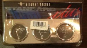 Stewart Warner 82217B Gauges Oil Temp Pressure Amp