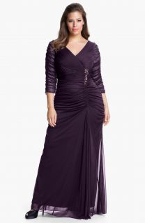 Sz 14W Adrianna Papell Beaded Mesh Gown Aubergine Mother of The Bride